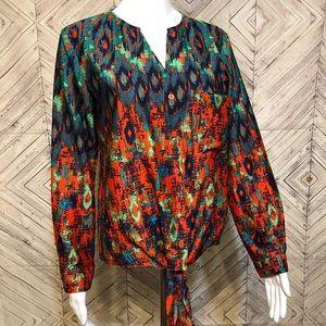 The Impeccable Pig S Ikat print wrap waist blouse